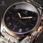 ORKINA ORK186 мужские кварцевые часы с большим циферблатом, календариком, секундомером и ремешком из нержавеющей стали.
