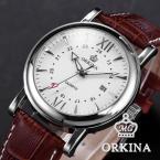 ORKINA ORK107 мужские кварцевые часы с круглым циферблатом, календариком и кожаным ремешком.