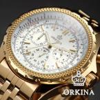ORKINA ORK096 мужские водонепроницаемые часы с оригинальным циферблатом, хронографом, секундомером и ремешком из нержавеющей стали. (Цвет - золотистый)
