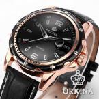 ORKINA ORK050 мужские водонепроницаемые часы с большим циферблатом, календариком и ремешком из натуральной кожи.