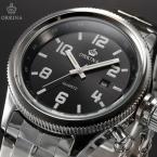 ORKINA ORK196 мужские кварцевые часы с круглым циферблатом, календариком и ремешком из нержавеющей стали.