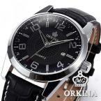 Orkina ORK057 мужские водонепроницаемые часы с круглым циферблатом, календариком и кожаным ремешком.
