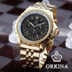 ORKINA ORK097 мужские водонепроницаемые часы с оригинальным циферблатом, хронографом, секундомером и ремешком из нержавеющей стали. (Цвет - золотистый)