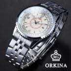 Orkina ORK109 мужские кварцевые часы с круглым циферблатом, календариком, подсветкой и ремешком из нержавеющей стали.