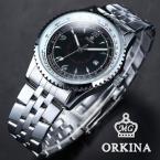 Orkina ORK108 мужские кварцевые часы с круглым циферблатом, календариком, подсветкой и ремешком из нержавеющей стали.