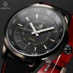 ORKINA ORK190 мужские кварцевые часы с круглым циферблатом, календариком и нейлоновым ремешком.