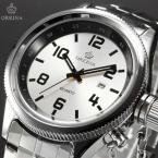 ORKINA ORK197 мужские кварцевые часы с большим циферблатом, календариком и ремешком из нержавеющей стали.