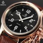 ORKINA ORK194 мужские кварцевые часы с круглым циферблатом, календариком и ремешком из натуральной кожи.