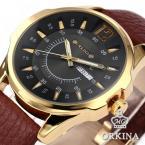 ORKINA ORK144 мужские водонепроницаемые часы с большим циферблатом, календариком и кожаным ремешком.