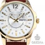 ORKINA ORK143 мужские водонепроницаемые часы с большим циферблатом, календариком и кожаным ремешком.