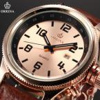 ORKINA ORK195 мужские кварцевые часы с круглым циферблатом, календариком и ремешком из натуральной кожи.