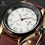 ORKINA ORK193 мужские кварцевые часы с круглым циферблатом, календариком и ремешком из натуральной кожи.