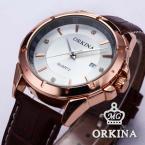 Orkina ORK082 мужские кварцевые часы с круглым циферблатом, календариком и ремешком из натуральной кожи.