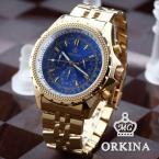 ORKINA Men 6 Hands Stopwatch 24 Hours Display Golden Stainless Steel Blue Round Dial Casual Sport Quartz Wrist Watch / ORK098