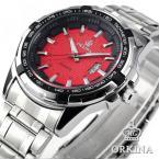 ORKINA ORK128 мужские водонепроницаемые часы с оригинальным красным циферблатом, календариком и ремешком из нержавеющей стали.