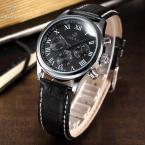 ORKINA ORK151 мужские кварцевые часы с круглым циферблатом, календариком, секундомером и кожаным ремешком.