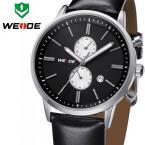 WEIDE мужские кварцевые водонепроницаемые часы с круглым циферблатом, календариком и кожаным ремешком. (Гарантия на один год)