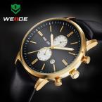 WEIDE мужские водонепроницаемые часы с круглым циферблатом, календариком и кожаным ремешком.