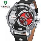WEIDE WH3301R мужские водонепроницаемые часы с большим циферблатом, календариком и кожаным ремешком.