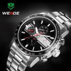 WEIDE кварцевые водонепроницаемые мужские часы с круглым циферблатом, календариком и ремешком из нержавеющей стали.
