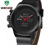 WEIDE WH3305B мужские водонепроницаемые часы с оригинальным циферблатом и кожаным ремешком.