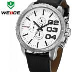 WEIDE WH3310 мужские водонепроницаемые часы с большим циферблатом и кожаным ремешком.