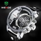 WEIDE мужские водонепроницаемые часы с большим циферблатом, календариком и кожаным ремешком.