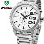 WEIDE мужские водонепроницаемые часы с японским механизмом, круглым циферблатом и стальным ремешком.
