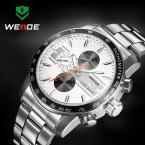 WEIDE водонепроницаемые кварцевые мужские часы с круглым циферблатом, календариком и ремешком из нержавеющей стали.