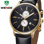 WEIDE WH3302GB водонепроницаемые мужские часы с круглым циферблатом, календариком и кожаным ремешком.