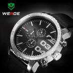 WEIDE мужские водонепроницаемые часы с японским механизмом, круглым циферблатом и кожаным ремешком.