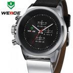 WEIDE WH3305 мужские водонепроницаемые часы с оригинальным дисплеем и кожаным ремешком.
