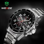 WEIDE WH3308-B мужские водонепроницаемые часы с круглым циферблатом, календариком и стальным ремешком.