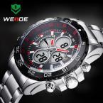 WEIDE 1103 мужские водонепроницаемые часы с цифровым ЖК дисплеем и ремешком из нержавеющей стали.