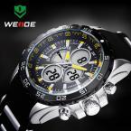 WEIDE мужские водонепроницаемые часы с круглым циферблатом, подсветкой, календариком и резиновым ремешком.