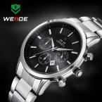 WEIDE 3312-B мужские водонепроницаемые часы с круглым циферблатом, календариком и ремешком из нержавеющей стали.