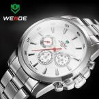 WEIDE многофункциональные водонепроницаемые мужские часы с круглым циферблатом и ремешком из нержавеющей стали.
