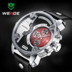 WEIDE водонепроницаемые мужские часы с оригинальным циферблатом, календариком и кожаным ремешком.