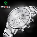 WEIDE мужские водонепроницаемые часы с круглым циферблатом, календариком и ремешком из нержавеющей стали.