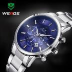 WEIDE WH-3312-3 мужские водонепроницаемые часы с круглым циферблатом, календариком и ремешком из нержавеющей стали.