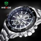 WEIDE мужские водонепроницаемые часы с цифровым ЖК дисплеем, календариком и ремешком из нержавеющей стали.