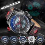 WEIDE мужские водонепроницаемые часы с круглым циферблатом, календариком, будильником, секундомером и кожаным ремешком.