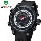 WEIDE 3315 мужские водонепроницаемые часы с большим циферблатом, календариком и силиконовым ремешком.