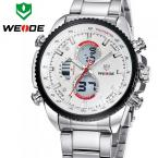 WEIDE многофункциональные водонепроницаемые мужские часы с цифровым ЖК дисплеем, подсветкой и ремешком из нержавеющей стали. (5 цветов)