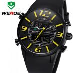 WEIDE мужские водонепроницаемые часы с круглым цифровым дисплеем, подсветкой, календариком и ремешком из искусственной кожи.