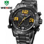 WEIDE WH3405B-3C мужские водонепроницаемые часы с цифровым дисплеем, подсветкой, календариком и стальным ремешком.