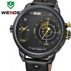 WEIDE водонепроницаемые мужские часы с японским механизмом, оригинальным циферблатом и кожаным ремешком.
