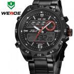 WEIDE водонепроницаемые мужские часы с цифровым светодиодным дисплеем, календариком и ремешком из нержавеющей стали. (6 цветов)