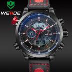 WEIDE мужские водонепроницаемые часы с оригинальным циферблатом, будильником и ремешком из натуральной кожи.