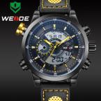 WEIDE мужские водонепроницаемые часы с круглым цифровым дисплеем, календариком, будильником и ремешком из натуральной кожи.